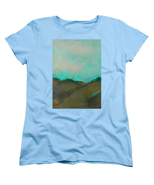 Abstract Landscape - Turquoise Sky Women's T-Shirt (Standard Cut) by Kathleen Grace