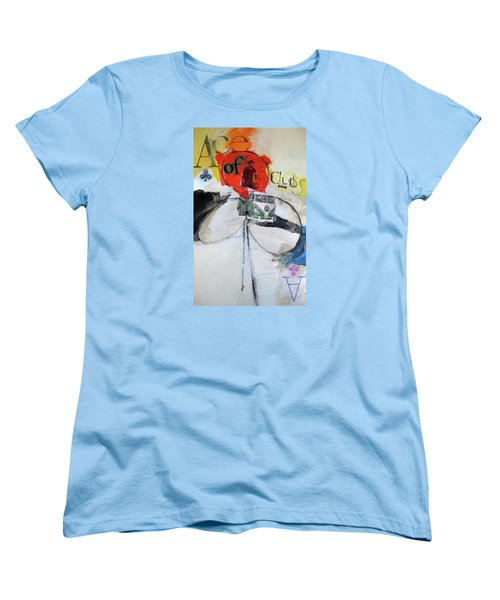 Women's T-Shirt (Standard Cut) featuring the painting Ace Of Clubs 36-52 by Cliff Spohn