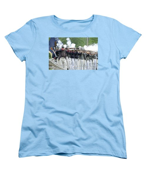 Women's T-Shirt (Standard Cut) featuring the photograph American Firing Line by JT Lewis