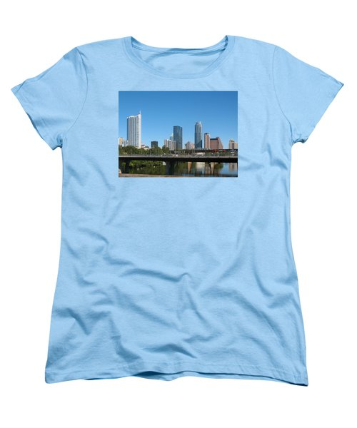 Women's T-Shirt (Standard Cut) featuring the photograph Austin Texas 2012 Skyline And Water Reflections by Connie Fox
