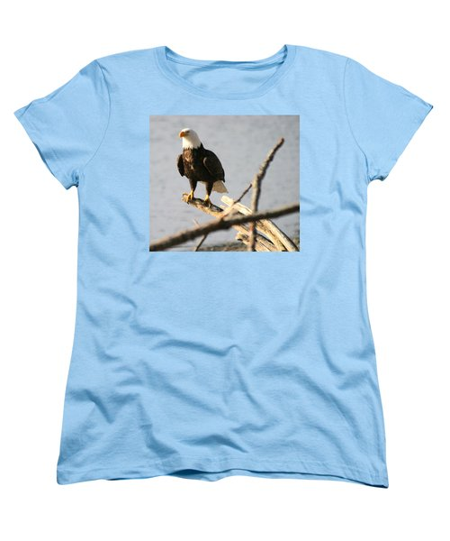 Women's T-Shirt (Standard Cut) featuring the photograph Bald Eagle On Driftwood by Kym Backland