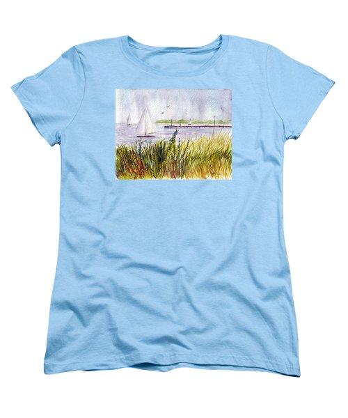 Women's T-Shirt (Standard Cut) featuring the painting Barnegat Sails by Clara Sue Beym