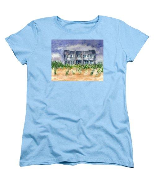 Women's T-Shirt (Standard Cut) featuring the painting Beach House by Clara Sue Beym
