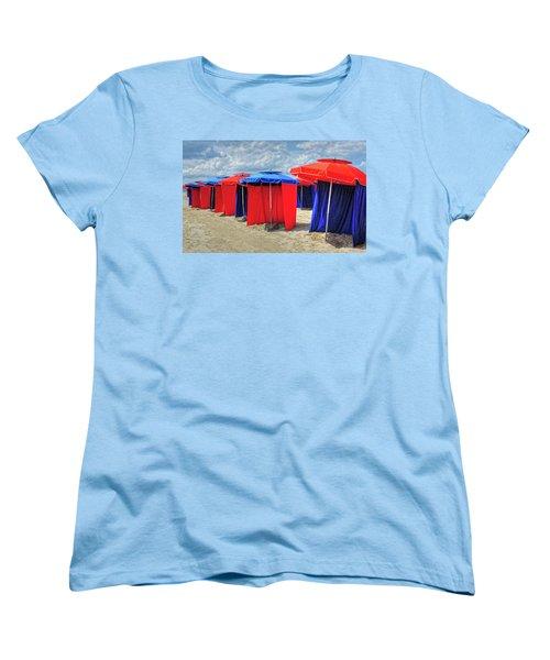 Women's T-Shirt (Standard Cut) featuring the photograph Beach Umbrellas Nice France by Dave Mills