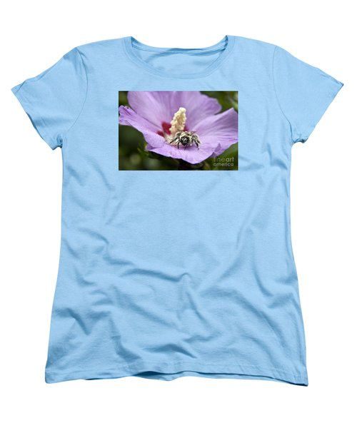 Women's T-Shirt (Standard Cut) featuring the photograph Bee Covered In Pollen  by Jeannette Hunt