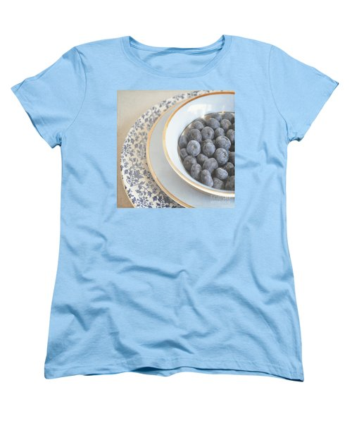 Blueberries In Blue And White China Bowl Women's T-Shirt (Standard Cut) by Lyn Randle