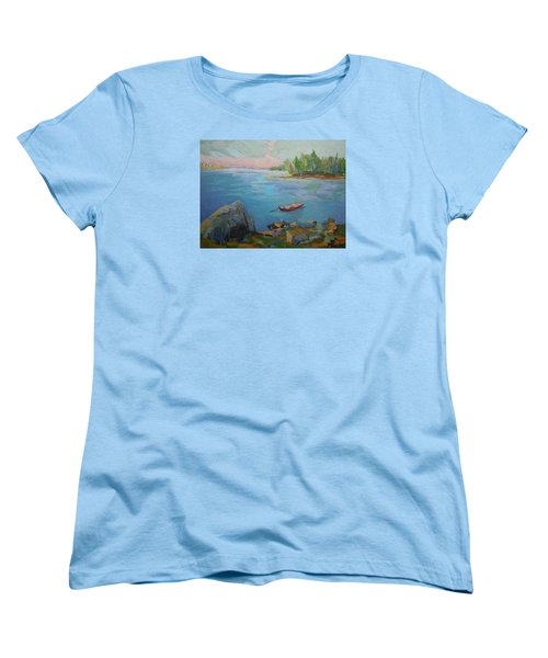 Women's T-Shirt (Standard Cut) featuring the painting Boat And Bay by Francine Frank