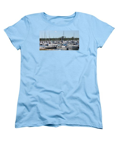 Women's T-Shirt (Standard Cut) featuring the photograph Boats At Winthrop Harbor by Debbie Hart