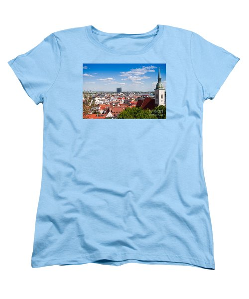 Women's T-Shirt (Standard Cut) featuring the photograph Bratislava Roofs by Les Palenik