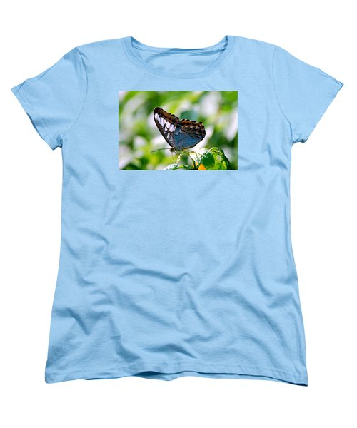 Women's T-Shirt (Standard Cut) featuring the photograph Bright Blue Butterfly by Peggy Franz