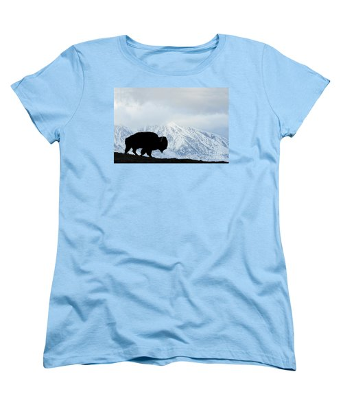 Women's T-Shirt (Standard Cut) featuring the photograph Buffalo Suvived Another Yellowstone Winter by Dan Friend