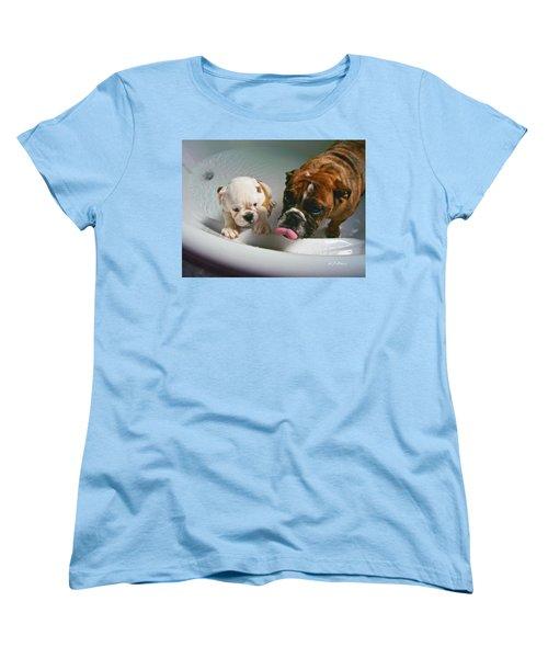 Bulldog Bath Time II Women's T-Shirt (Standard Cut) by Jeanette C Landstrom