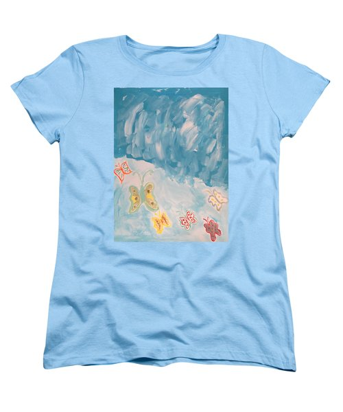 Women's T-Shirt (Standard Cut) featuring the painting Butterfly Flight by Sonali Gangane