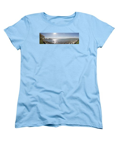 Women's T-Shirt (Standard Cut) featuring the photograph Canandaigua Lake Panorama by William Norton