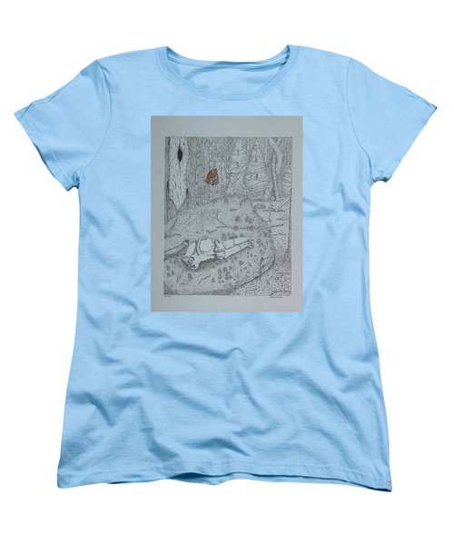 Women's T-Shirt (Standard Cut) featuring the drawing Canine Skull And Butterfly by Daniel Reed
