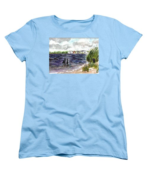 Women's T-Shirt (Standard Cut) featuring the painting Cedar Beach by Clara Sue Beym
