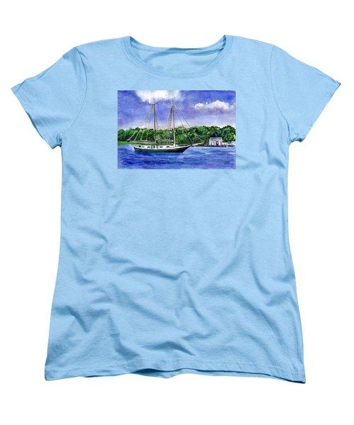Women's T-Shirt (Standard Cut) featuring the painting Cedar Beach Schooner by Clara Sue Beym