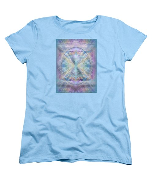 Women's T-Shirt (Standard Cut) featuring the digital art Chalice Of Vorticspheres Of Color Shining Forth Over Tapestry by Christopher Pringer