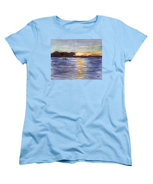 Women's T-Shirt (Standard Cut) featuring the painting Chesapeake Dusk Boat Ride by Clara Sue Beym