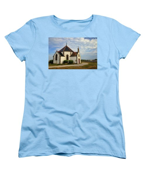 Women's T-Shirt (Standard Cut) featuring the photograph Church Off The Brittany Coast by Dave Mills