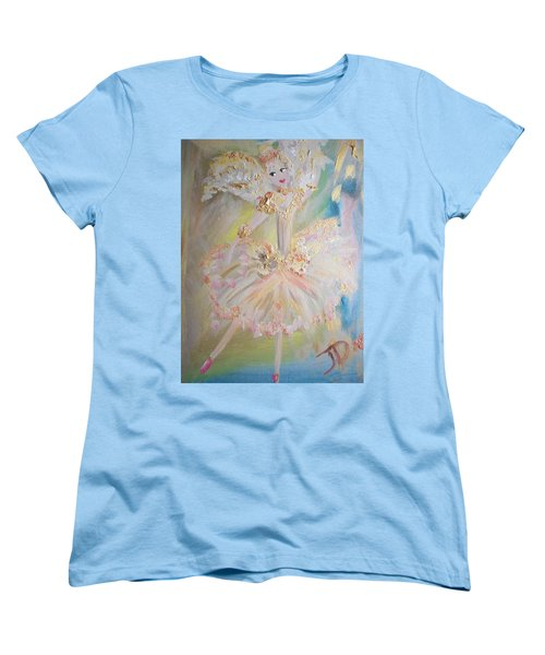 Women's T-Shirt (Standard Cut) featuring the painting Coffee Fairy by Judith Desrosiers