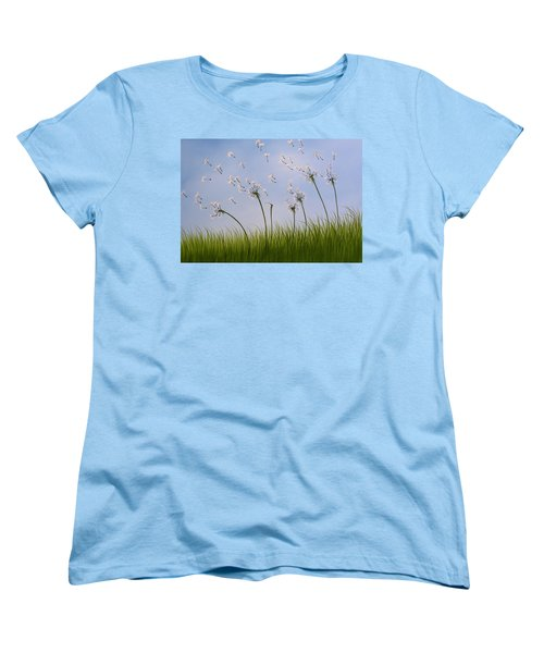 Women's T-Shirt (Standard Cut) featuring the painting Contemporary Landscape Art Make A Wish By Amy Giacomelli by Amy Giacomelli