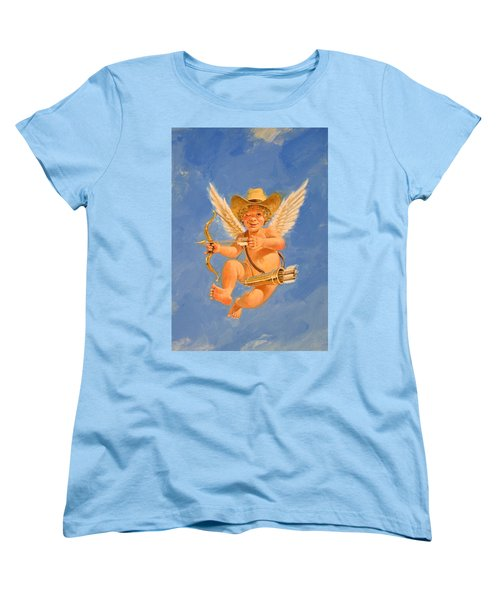 Women's T-Shirt (Standard Cut) featuring the painting Cow Kid Cupid by Cliff Spohn