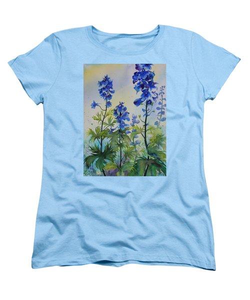 Delphiniums Women's T-Shirt (Standard Cut) by Ruth Kamenev