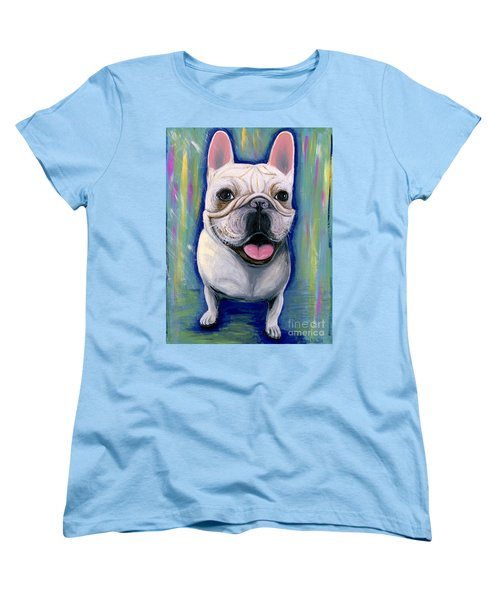 Women's T-Shirt (Standard Cut) featuring the painting Dino The French Bulldog by Ania M Milo