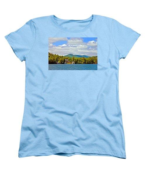 Distant Lake View In Spring Women's T-Shirt (Standard Cut) by Susan Leggett
