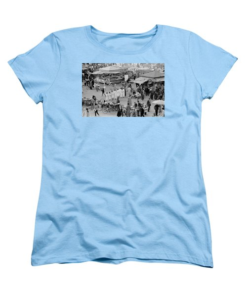 Women's T-Shirt (Standard Cut) featuring the photograph Djemaa El Fna Marrakech Morocco by Tom Wurl