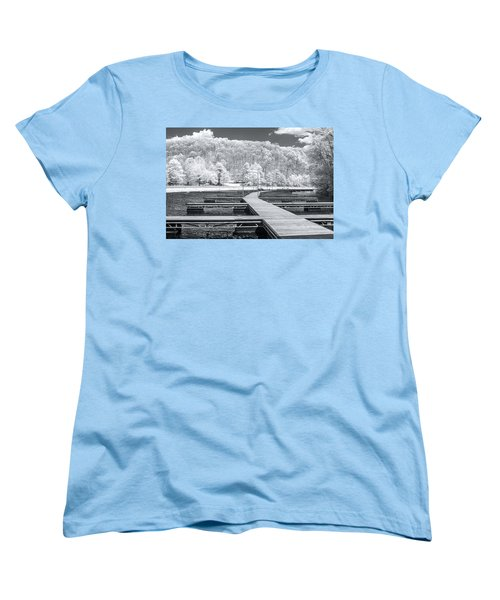 Women's T-Shirt (Standard Cut) featuring the photograph Dock In Infrared by Mary Almond