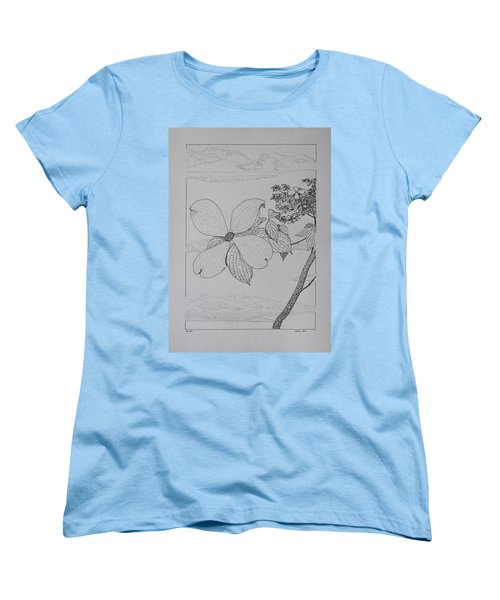 Women's T-Shirt (Standard Cut) featuring the drawing Dogwood  by Daniel Reed