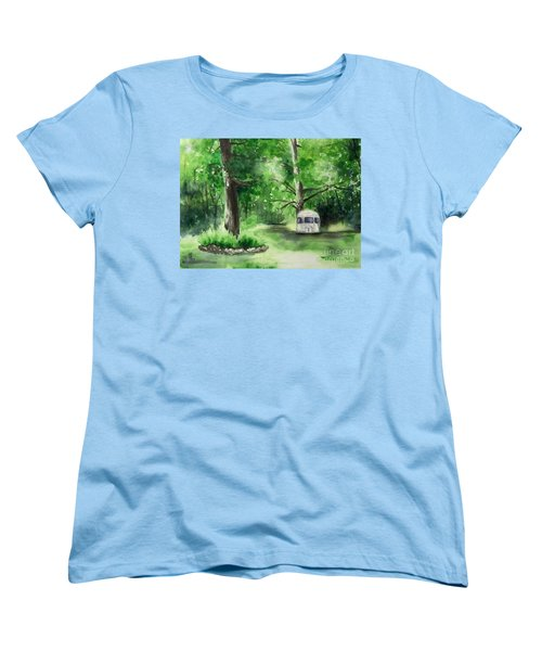 Women's T-Shirt (Standard Cut) featuring the painting Early Summer At The Geddes Farm --ann Arbor Michigan by Yoshiko Mishina