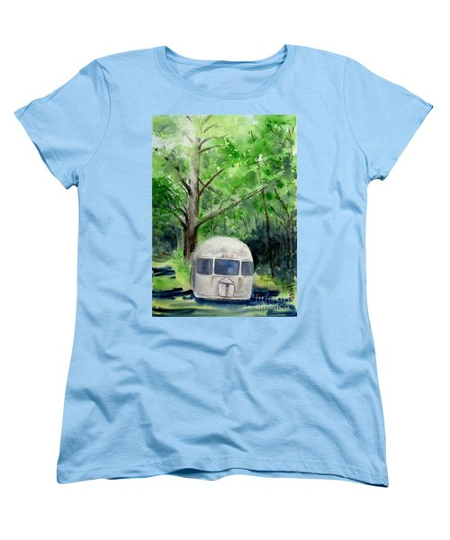 Women's T-Shirt (Standard Cut) featuring the painting Early Summer At The Geddes Farm 1 --ann Arbor  Michigan by Yoshiko Mishina