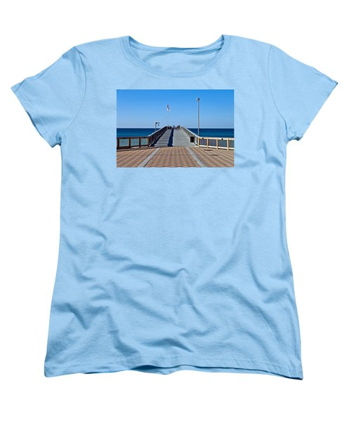 Women's T-Shirt (Standard Cut) featuring the photograph Entrance To A Fishing Pier by Susan Leggett