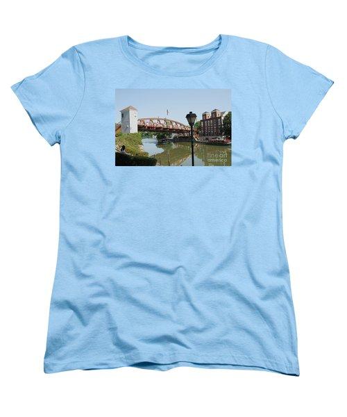 Women's T-Shirt (Standard Cut) featuring the photograph Fairport Lift Bridge by William Norton