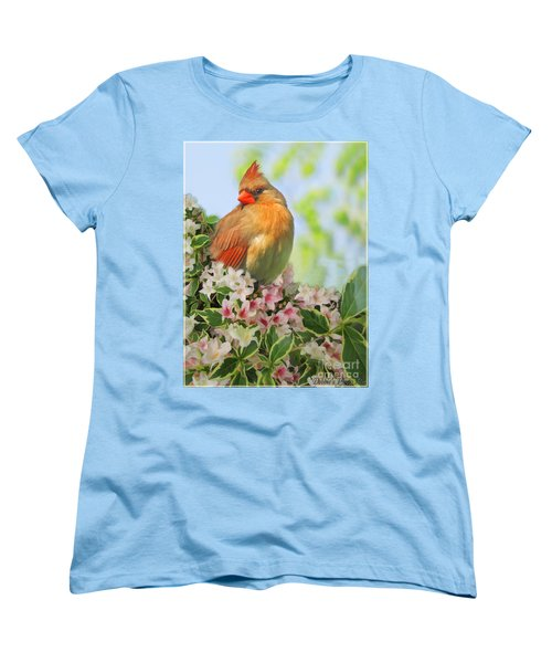 Women's T-Shirt (Standard Cut) featuring the photograph Female Cardnial In Wegia Digital Art by Debbie Portwood