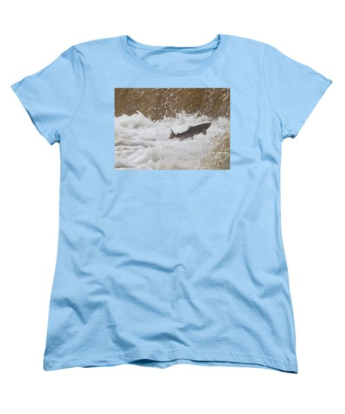 Fish Jumping Upstream In The Water Women's T-Shirt (Standard Cut) by John Short