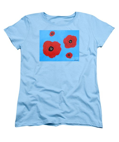 Women's T-Shirt (Standard Cut) featuring the painting Floating Flowers by Alys Caviness-Gober