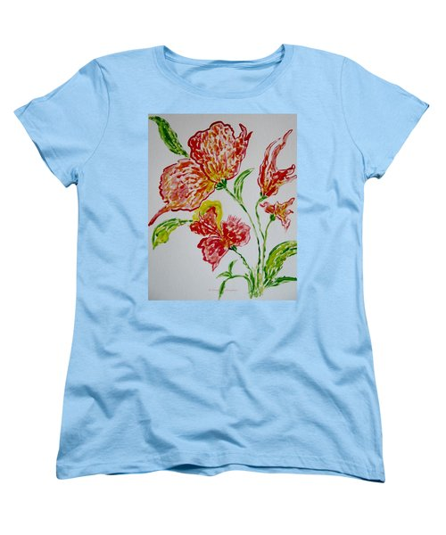 Women's T-Shirt (Standard Cut) featuring the painting Florals by Sonali Gangane