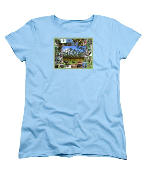 Women's T-Shirt (Standard Cut) featuring the photograph Florida Wildlife Photo Collage by Barbara Bowen