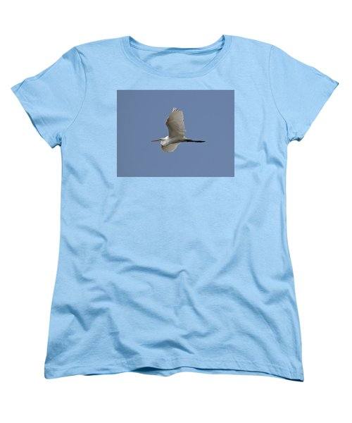 Women's T-Shirt (Standard Cut) featuring the photograph Flying Egret by Jeannette Hunt
