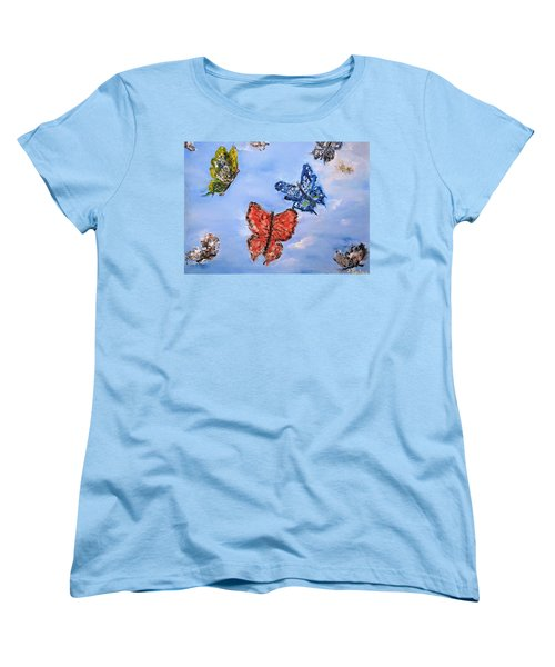 Women's T-Shirt (Standard Cut) featuring the painting Flying by Evelina Popilian