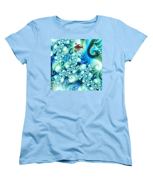Fractal And Swan Women's T-Shirt (Standard Cut) by Odon Czintos