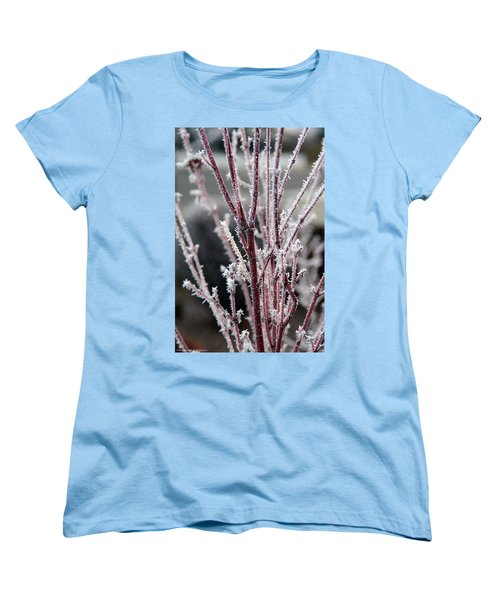Frosty Coral Maple Women's T-Shirt (Standard Cut) by Mick Anderson