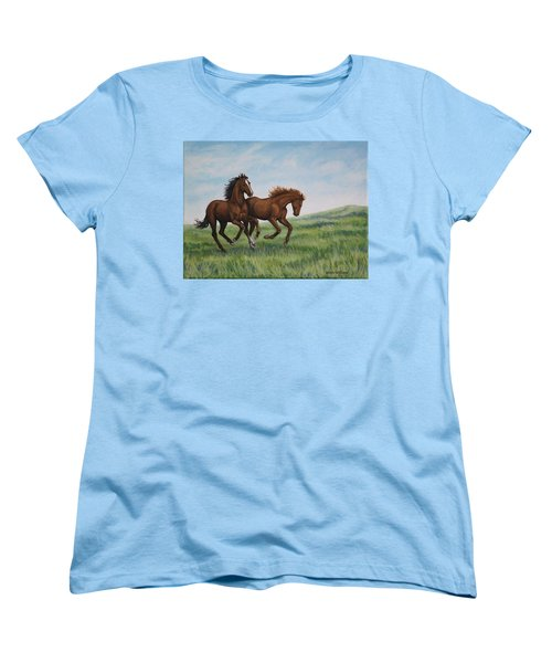 Women's T-Shirt (Standard Cut) featuring the painting Galloping Horses by Penny Birch-Williams