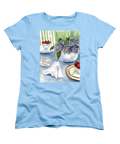 Women's T-Shirt (Standard Cut) featuring the painting Garden Tea Party by Clara Sue Beym