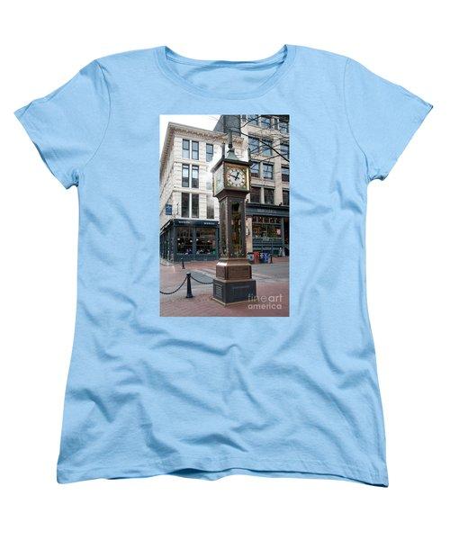 Women's T-Shirt (Standard Cut) featuring the digital art Gastown Steam Clock by Carol Ailles