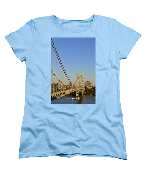 George Washington Bridge And Boat Women's T-Shirt (Standard Cut) by Zawhaus Photography